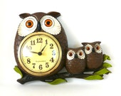 vintage owl clock, vintage clocks, animal decor, kitsch, owls, woodland, owl decor