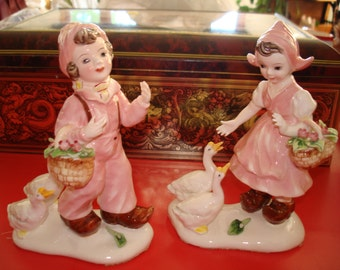 Vintage Dutch Boy and Girl with Geese Pink
