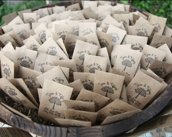 150 Customized Wedding Favors, Let Love Grow Favors,  Wedding Favors, Seed Favor Envelopes, Custom Seed Packets