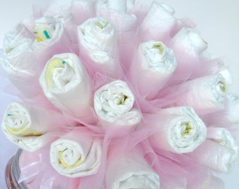 Diaper Bouquet - Pink Baby Girl Diaper Bouquet Baby Shower Centerpiece - 40 Diapers