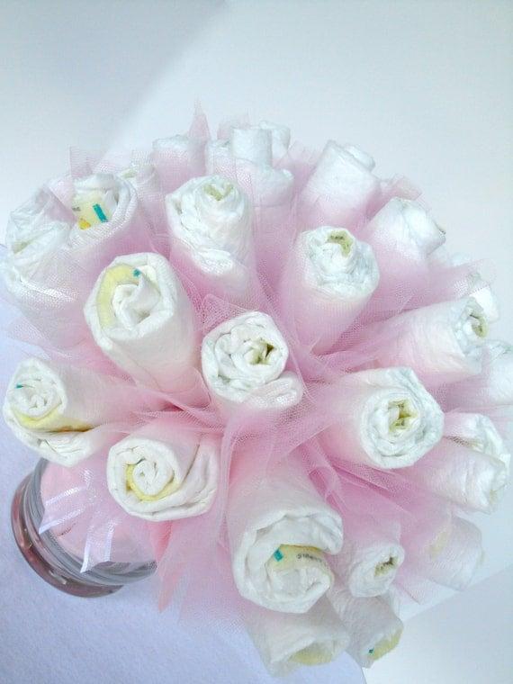 Diaper Bouquet - Pink Baby Girl Diaper Bouquet Baby Shower Centerpiece - 40 Diapers