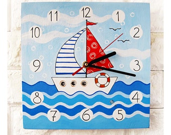 The Sailboat Blue Wall Clock Home Decor for Children Kid Boy Girl Nursery Playroom, wood clock, white home decor, kids gift.