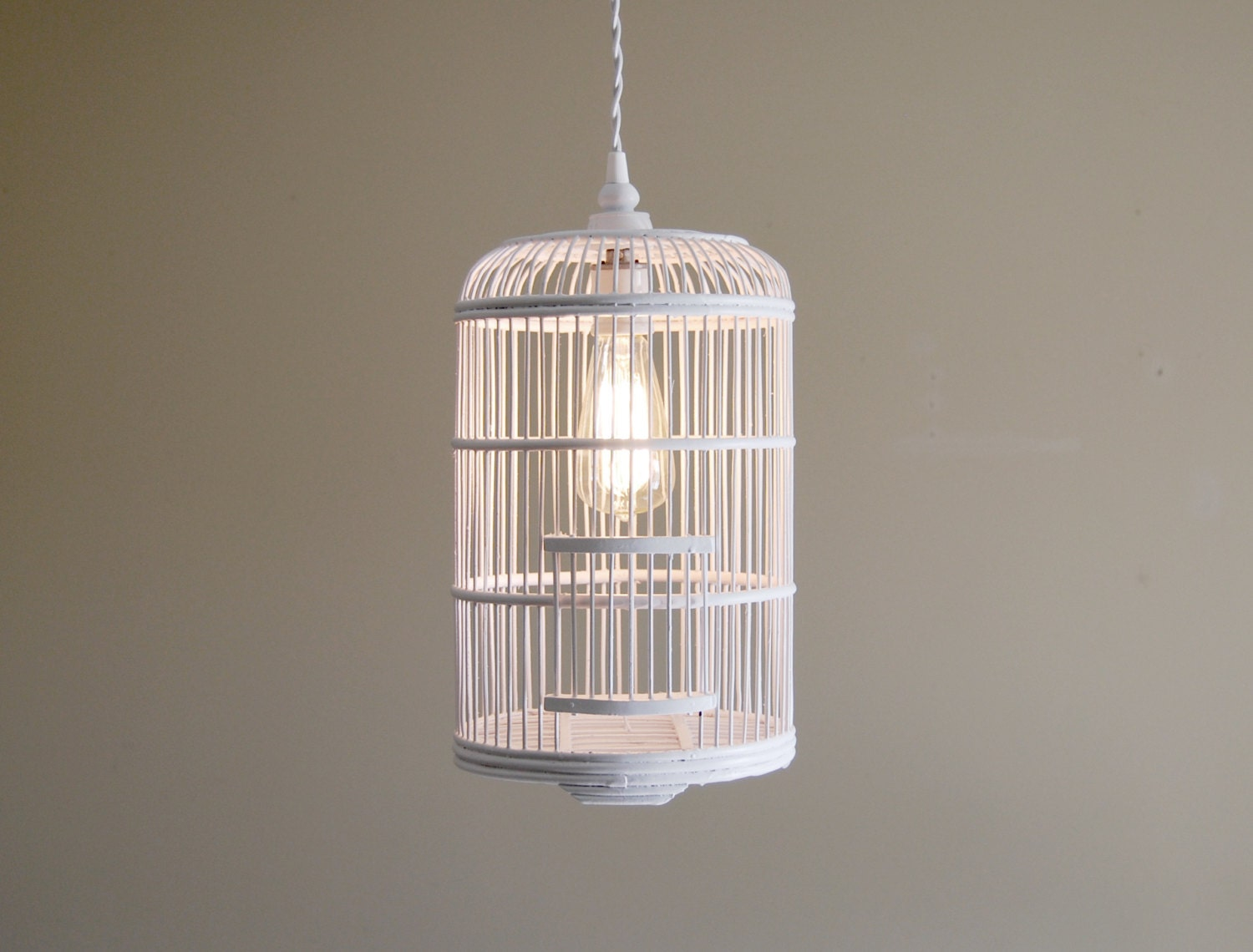 bird cage pendant light fixture w twisted cloth covered cord