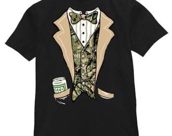 Mens T-shirt / Redneck Tuxedo with Beer