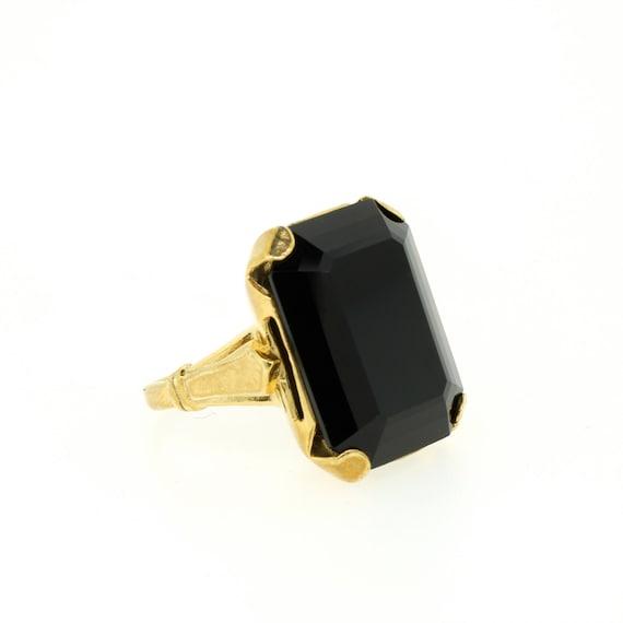 items similar to large black onyx emerald cut gold vermeil