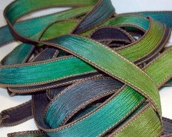 Sagebrush   42 inch hand dyed silk ribbon//Silk Wrist wap Bracelet Ribbon//Silk Ribbon//Silk Yoga Wrap Bracelet Ribbon//By Color Kissed Silk