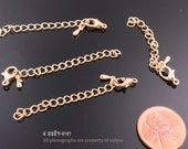 10Sets-50mm Bright 16K Gold extender chains with a clasp for jewelry making supplies(K212G)