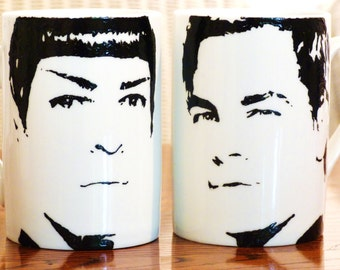 Hand Painted Zak Quinto and Chris Pine, Star Trek, cup set