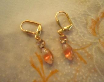 Vintage sherbet orange earrings, fun and one of a kind