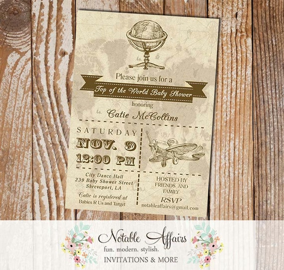 boy baby shower old world map globe rustic vintage baby shower invitation top of the