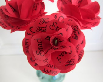 "Personalized Paper  First Anniversary  Birthday Decoration or Gift Red Paper Roses With Personalized Print  4"" Diameter  12 Roses with Stems"