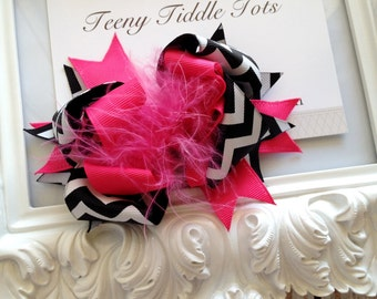 Hot Pink and Black Chevron Boutique Hairbow - Boutique Hairbow - baby hair bow