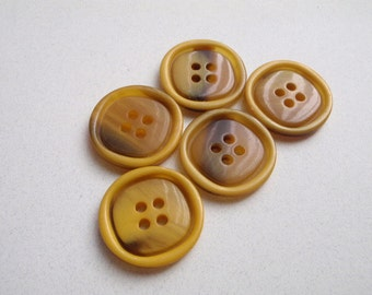 5  Yellow Rimmed Brown Centered Buttons 22 1/2mm Plastic