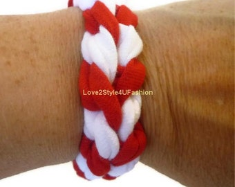 FREE SHIPPING, Paracord Friendship Bracelet, Arm Candy, Bracelet, Boho Jewelry, Fabric Surf Hippie Stackable Bracelet Unisex-Red/White