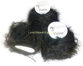 CLEARANCE SALE! Yarn Sale, Handspun Luxury Yarn, Eyelash Trendsetter Yarns, Aura Yarn, Free Pattern with purchase of 5 skeins, Black Yarn