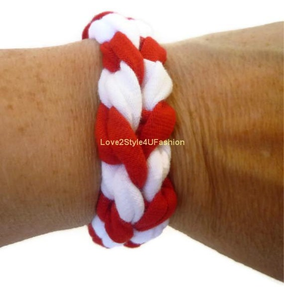 FREE SHIPPING, Paracord Friendship Bracelet, Arm Candy, Bracelet, Boho Jewelry, Fabric Surf Hippie Stackable Bracelet Unisex-Red/White