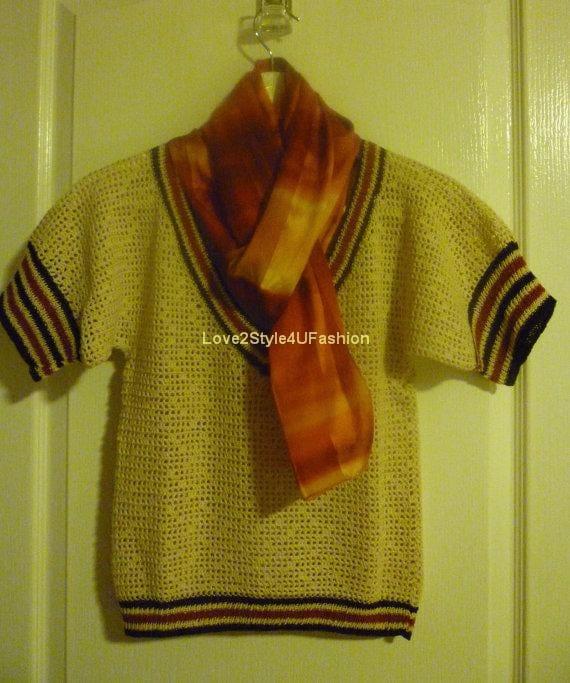 Women Hand Crochet Sweater Hand Crochet Women Cardigan Tunic V-Neck Designer Sweater Beige / Rust / Brown - Love2Style4UFashion