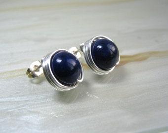 Large Stud Earrings,  Blue Post Earrings, Lapis Lazuli Stud Earrings, Silver Wire Wrapped Earrings, Lapis Lazuli Earrings, Gifts for Her