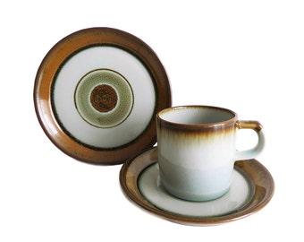 Vintage // Désirée Stentøj // Diskos coffee cup trio // Handpainted Danish stoneware // Danish modern // Denmark