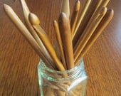 Bamboo crochet hooks - Set of 12 - Sizes 3mm to 10mm Free Sewing Up Needle