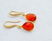 Onyx Earrings, Red Onyx, ...