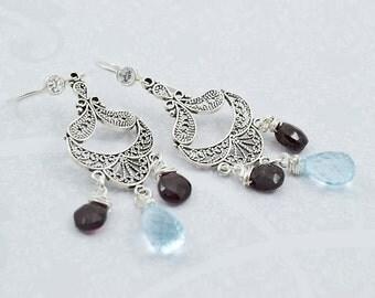 Silver Chandelier Earrings, Silver Earrings, Blue Topaz Earrings, Garnet Earrings, Silver Marcasite Chandeliers