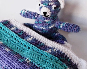 Baby Blanket & Matching Bear Crocheted Gender Neutral Turquoise and Lavender Baby Shower Gift, Crib Afghan