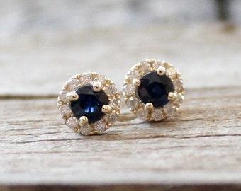 Cornflower Blue Sapphire Diamond Halo Earrings in 14K Yellow Gold