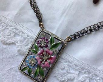 Gorgeous Art Deco Enamel Rhinestone Pendant Necklace Double Chains Colorful Flowers Boho Mixed Metals Unique One-of-a-Kind WishAnWearJewelry