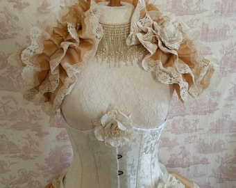 Steampunk Burlesque Ruffle Opera Shrug   Wedding By Ophelias Folly