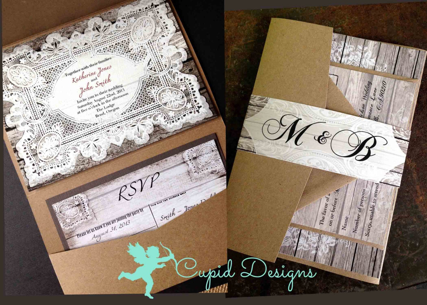 Lace Wedding Invitations Rustic Elegant Romantic Wedding Invites OnePaperHeart