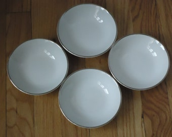 Vintage English Ironstone Silver Elegance Berry / Dessert Bowls Made in England Set of Four
