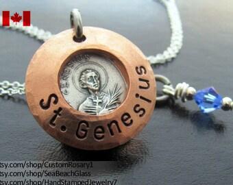 St Genesius Necklace. Saint Genesius. St. Genesius. Saint Genesius Charm. Pendant. Catholic Jewelry. Gift for Actor. STERLING Silver Chain.