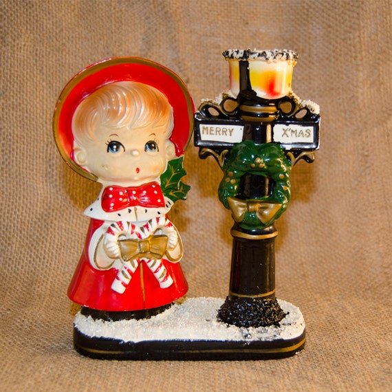 Vintage Ceramic Christmas Carolers Choir Boy And Girl: Vintage Ceramic Christmas Caroler With Lamp Post By