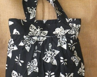 Pleated Black and White Butterfly Batik Large Purse