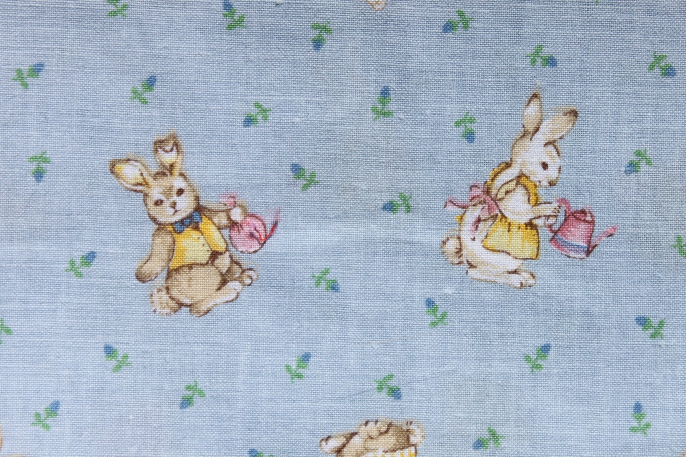 Bunny rabbit fabric vintage baby blue pink yellow cotton for Retro baby fabric