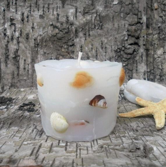 Items similar to seashells candle beach decor seashell for Beachy decor items