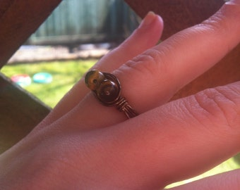 Tigers Eye on Brass Plated Ring Size 7.5