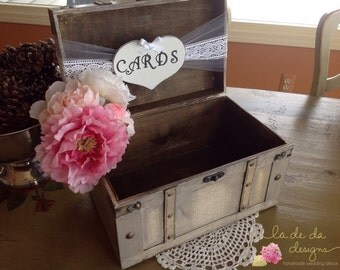 Rustic Wedding Card Box,Lace Wedding, Burlap Wedding, Large Card Box.