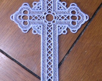 Embroidered Bookmark  - Cross - Lavender