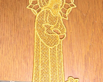 Embroidered Bookmark  -  Jesus with Lamb -  Gold