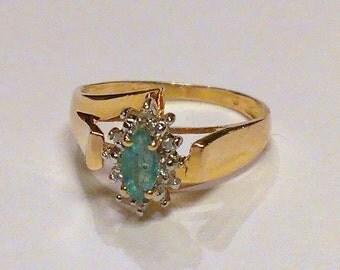 14K Emerald Diamond Ring Yellow Gold Size 6