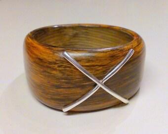 Wide MOD Faux Wood Hard Plastic Bangle Bracelet