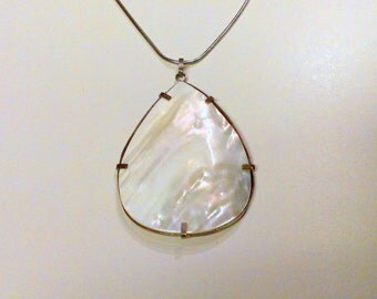 Vintage MOP Sterling Silver Pendant / Necklace