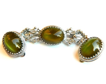 Art Deco Victorian Revival Green Brooch and Earrings 1950s Whiting and Davis Set Vintage Glass Collectible Jewelry Gift Idea For Women