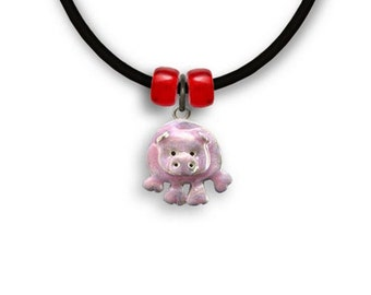 Enamel Hand Painted Pig Necklace
