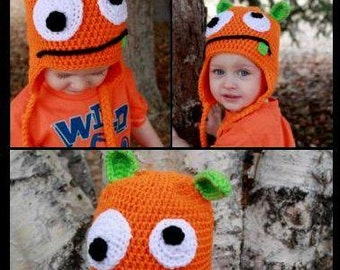 Crochet orange monster hat.Crochet green monster hat