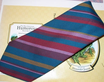 1970s Armando Collection Men's Tie - Multicolor Diagonal Stripe Pattern - Wide Width - 100% Polyester - International Designs