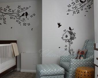 Vinyl wall decals tree birds wall decal wall art sticker nature wall decal vinyl nursery - branchs with birdcage birds