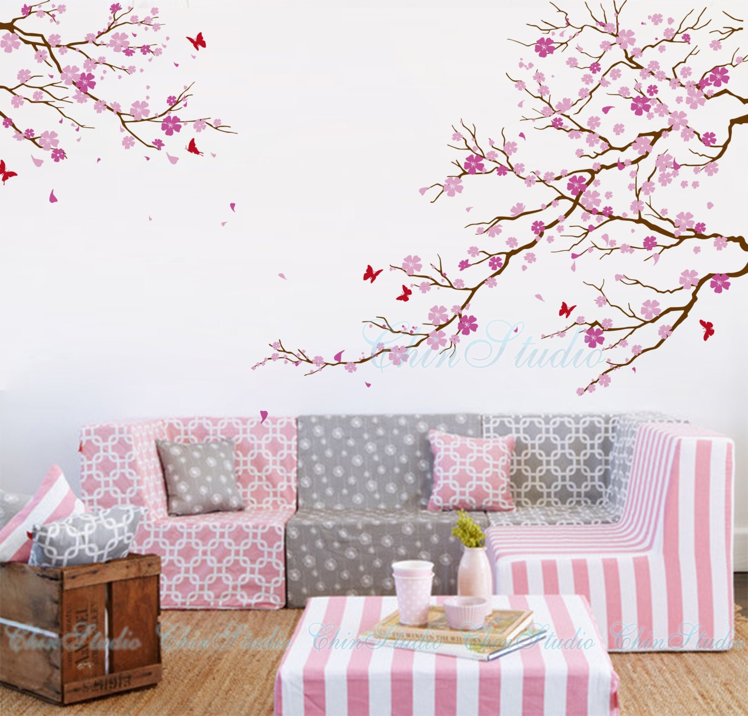 Cherry blossom tree wall decals with butterfly wall by for Cherry blossom tree wall mural